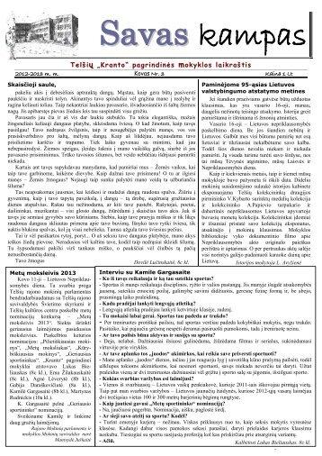 """Trečiasis """"Savo kampo"""" numeris - Telšių """"Kranto"""" pagrindinė mokykla"""