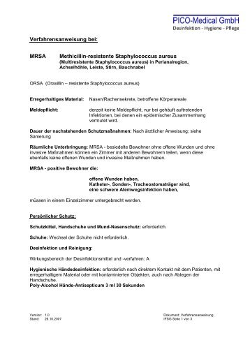 Verfahrensanweisung MRSA - PICO-Medical GmbH