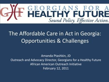 Amanda Ptashkin's Presentation: The Affordable Care Act