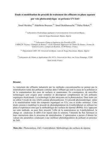 Etude et modélisation du procédé de traitement des effluents en ...