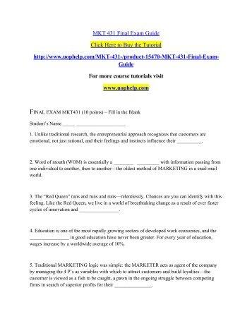 MKT 431 Final Exam Guide