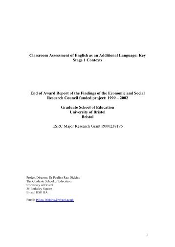 Classroom Assessment of English as an Additional ... - NALDIC