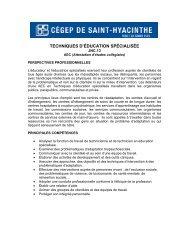 TECHNIQUES D'ÉDUCATION SPÉCIALISÉE - Cégep Saint-Hyacinthe