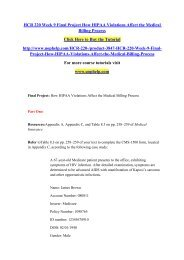 HCR 220 Week 9 Final Project How HIPAA Violations Affect the Medical Billing Process/uophelp