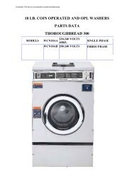 18 lb. coin operated and opl washers parts data ... - Laundry Nation