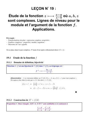LEÇON N˚ 19 : Étude de la fonction z ↦− → où a ... - CAPES de Maths