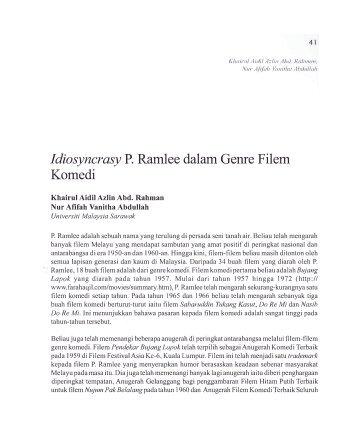 Idiosyncrasy P. Ramlee dalam Geme Filem Komedi - Wacana Seni