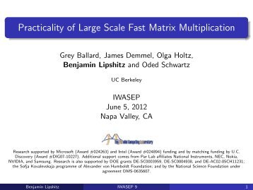 Practicality of Large Scale Fast Matrix Multiplication - Par Lab