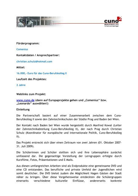 Projekt zum Download im PDF Format - EUROPE DIRECT in Hagen