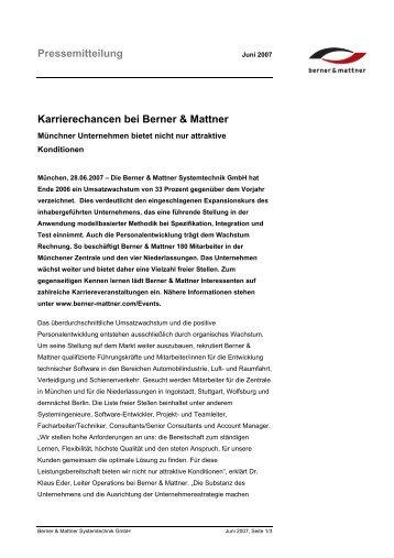 Pressemitteilung Karrierechancen bei Berner & Mattner