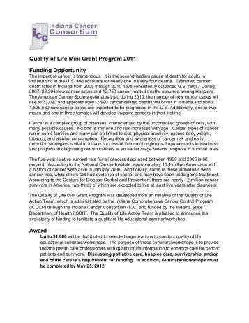 Quality of Life Mini Grant Program 2011 Funding Opportunity Award
