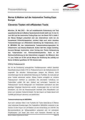 Pressemitteilung Cleveres Testen mit effizienten ... - Berner & Mattner