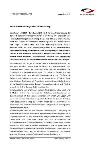 Pressemitteilung - Berner & Mattner
