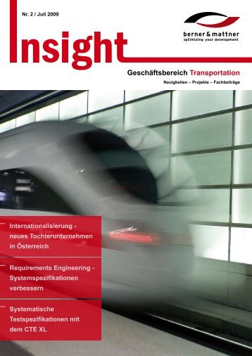 2. Newsletter 'Insight Transportation' (pdf 1,4 MB - Berner & Mattner