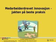 Medarbeiderdrevet innovasjon – jakten på beste praksis - Innomed