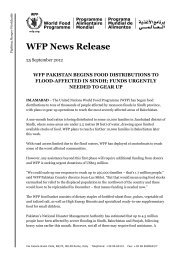 WFP Pakistan Begins Food Distributions to Flood-Affected in Sindh