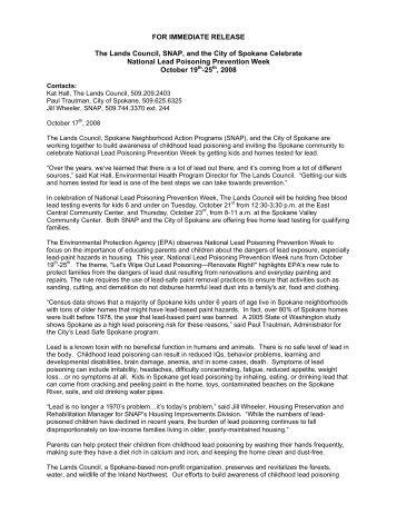 Press Release - The Lands Council