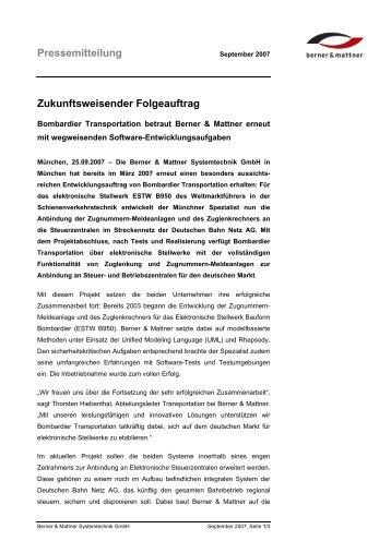 Pressemitteilung Zukunftsweisender Folgeauftrag - Berner & Mattner
