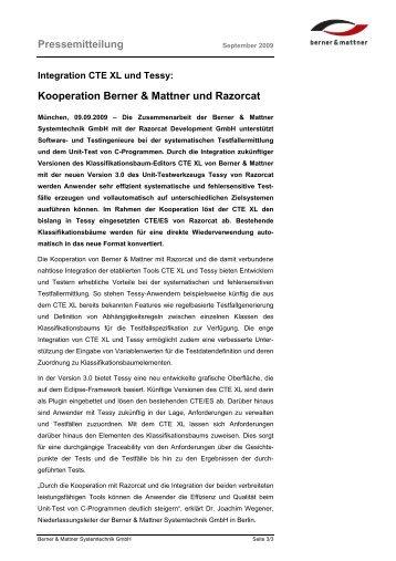 Pressemitteilung Kooperation Berner & Mattner und Razorcat