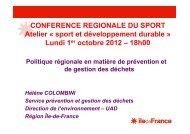 Politique régionale en matière de prévention et de gestion des ...