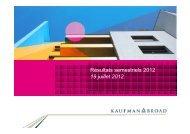 Présentation des Résultats 1er Semestre 2012