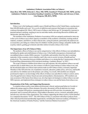 Policy on Tobacco - Academic Pediatric Association