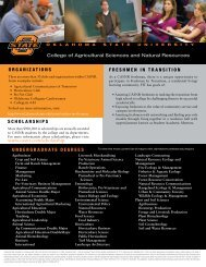 College of Agricultural Sciences & Natural Resources QuickSheet