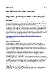 Informationssäkerhet. Rutiner och Riktlinjer Loggkontroll ...