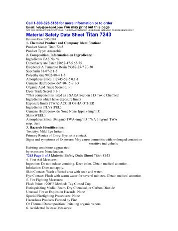 Material Safety Data Sheet Titan 7243