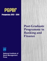 Post-Graduate Programme in Banking and Finance (PGPBF)