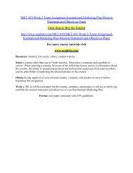 MKT 450 Week 2 Team Assignment International Marketing Plan