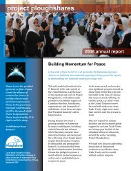 Project Ploughshares Annual Report 2008