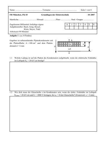 SS 2007 - Grundlagen der Elektrotechnik - Prof. Palme