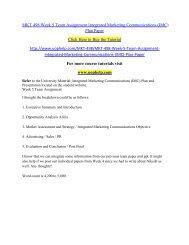 MKT 498 Week 5 Team Assignment Integrated Marketing Communications (IMC) Plan Paper