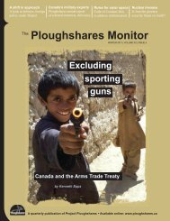 Ploughshares Monitor - Project Ploughshares