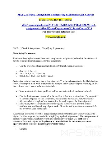 MAT 221 Week 1 Assignment 1 Simplifying Expressions (Ash Course)/uophelp