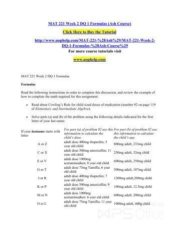 MAT 221 Week 2 DQ 1 Formulas (Ash Course)/uophelp