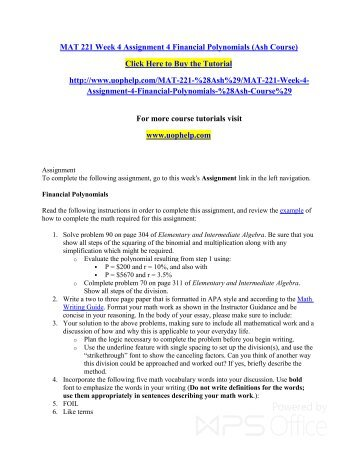 MAT 221 Week 4 Assignment 4 Financial Polynomials (Ash Course)/uophelp