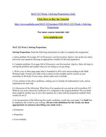 MAT 222 Week 1 Solving Proportions/uophelp