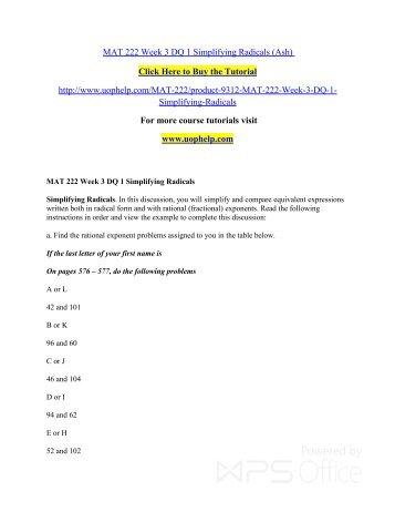 MAT 222 Week 3 DQ 1 Simplifying Radicals/uophelp