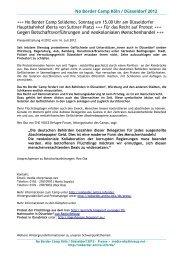 Gegen Botschaftsvorführungen und ... - No Border Camp
