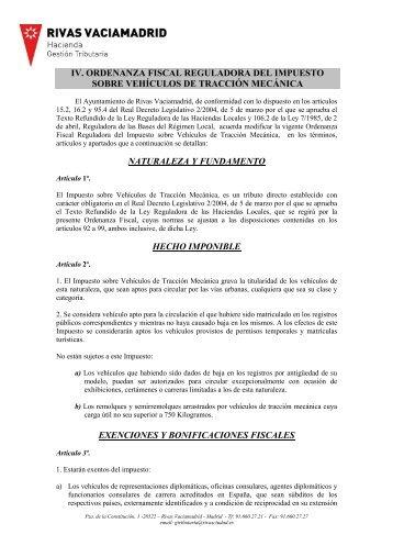 Ordenanza fiscal reguladora del Impuesto sobre Vehículos de