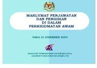 maklumat perjawatan dan pengisian di dalam perkhidmatan awam ...