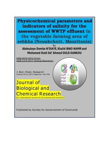 Physicochemical parameters and indicators of salinity for ... - Jbcr.in