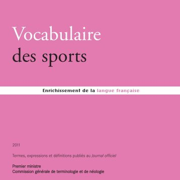 Vocabulaire des sports - Ministère de l'Éducation nationale
