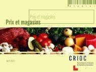 Prix et magasins - Crioc