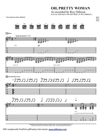 "Complete Transcription To ""Oh Pretty Woman"" (PDF) - Guitar Alliance"
