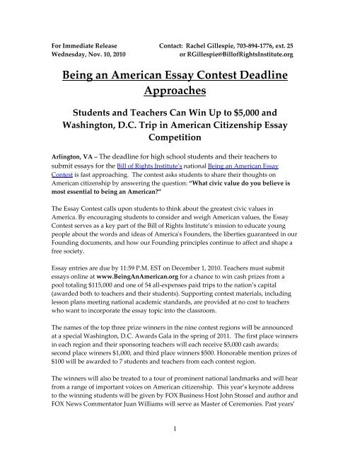 Essay Writing Examples For High School  Essays On High School also English Literature Essay Topics Being An American Essay Contest Deadline Approaches Essays And Term Papers