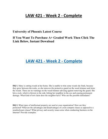 law 421 week 3 legal issues Analyze the legal issues of e-business to include intellectual property, privacy, ethics, and security  law 421 week 3 team assignment case scenarios bugusa, inc .