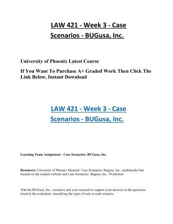 week 4 individual case law 421 Law421 week 4 individual assignment – crusoe and cold sci 362 case in point week three individual assignment case scenario: big time toymaker law/421 case.